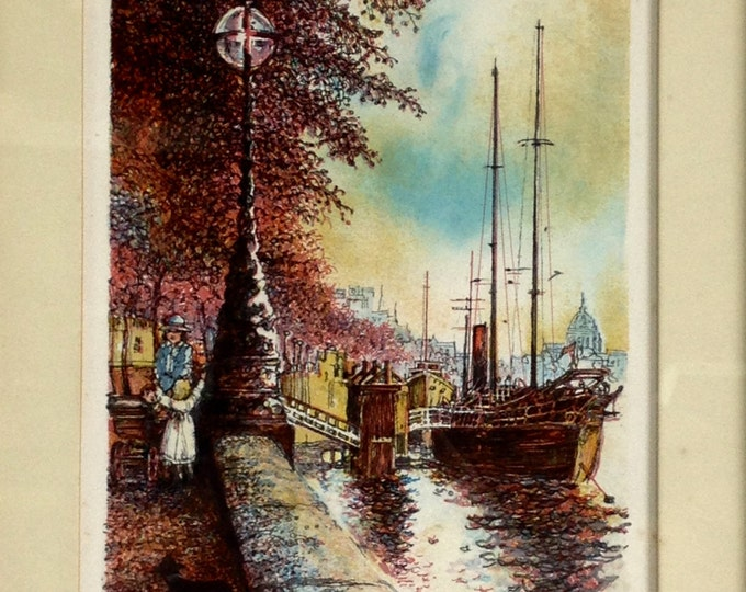 """Signed & Framed First Edition Lithograph of London by John Spiers,  1980 w/ Certificate of Authenticity, Along of Thames, 11.25x8.75"""" #1563"""