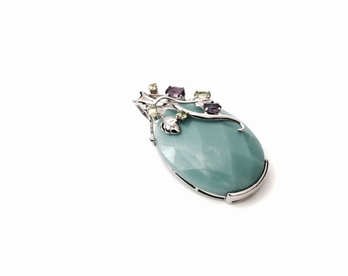 """An Intricate Blue Sea-Glass Cut Soap Stone Pendant Embossed With Amethyst & Peridot, 2x1.25x.5"""", 23.74 Grams, #2885"""