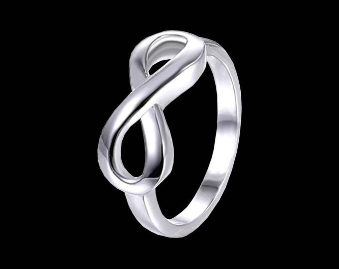 Sterling silver infinity ring, USA ring sizes 4-12