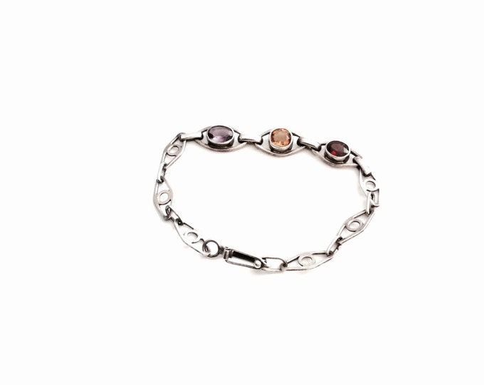 "An Early 1900's Art Deco Delicate 6"" Sterling Silver, Amethyst, Citrine & Ruby Bracelet, 5.10 Grams #2953"