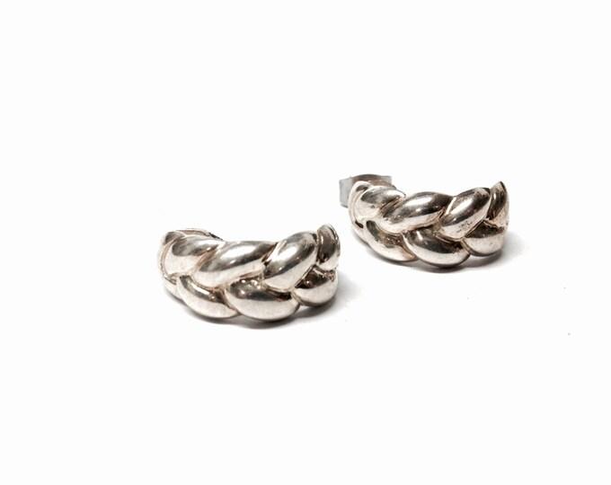 """A Pair Of Mid Century Sterling Silver Hallf-Hoop Stud Earrings, Art Nouveau Braided Rope, .75x1x.25"""", 5.46  Grams, #3086"""