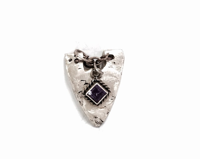 """Modern Sterling Handmade Arrowhead and Amethyst Pendant 1x.75x.14"""",  .5OZ, Detailed Carved Sterling Modern Art Jewelry, 1 of a kind,  #2332"""