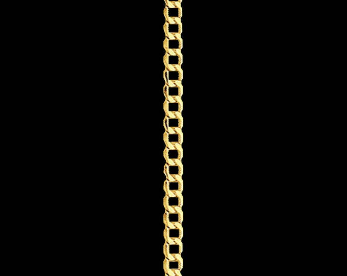 Cuban link chain necklace in 14k yellow gold, 2.0mm, lobster clasp; 16, 18, 20, 22 or 24 inches.