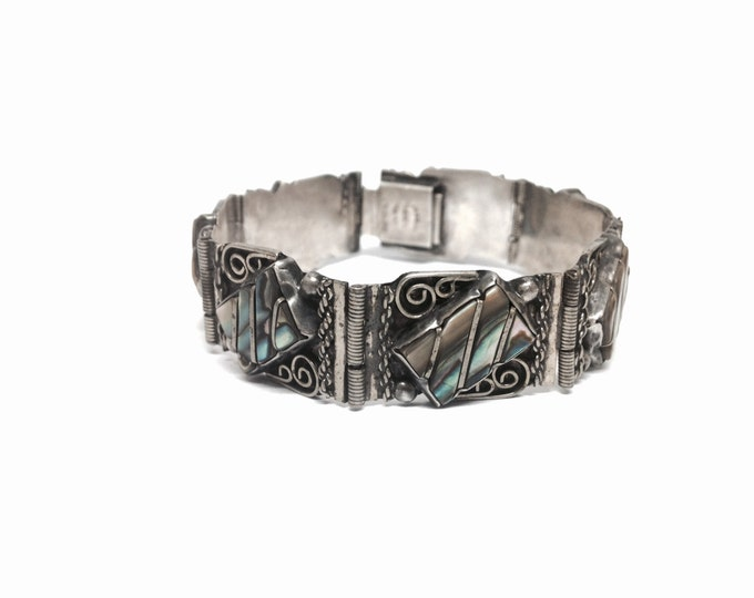 "A Mid-Century Mexican Art Nouveau Sterling Silver & Abalone Embossed Panel Bracelet, Box Clasp, 26.56g, 7.50x0.625x.25"" #613"