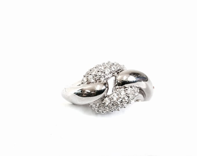 A Sterling Silver 1970's Retro-Modernist CZ Diamond Paved Ring, USA Ring Size 8, 4.97 Grams #3051