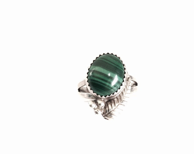 Southwestern Designer Signed 'AESY' Carved Sterling Silver & Malachite Ring, 3.63 Grams #3043