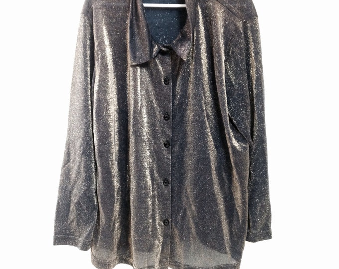 Beautiful Blue & Gold Shimmery Blouse, Upper East Side Blue and Gold Glittery Blouse, #2306