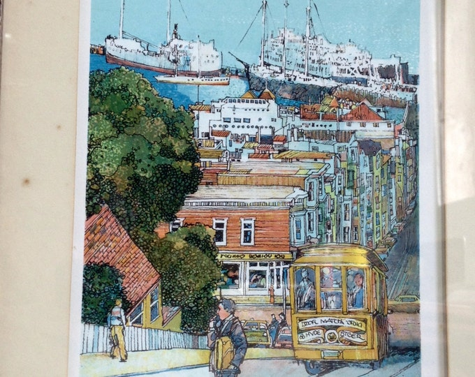 """First 1980 Edition - John Spiers Signed/Framed Lithograph of San Francisco by John Spiers, w/ Certificate of Authenticity, 11.25x8.75"""" #1561"""
