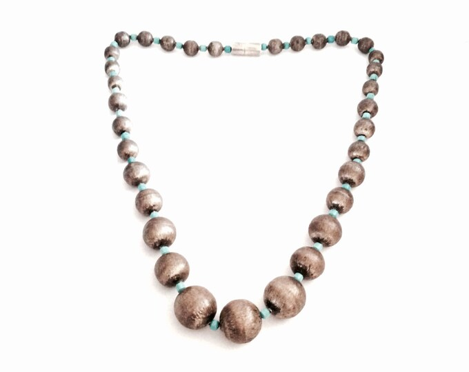 """A 19.5"""" Mid-Century Mexican Turqouise & Hollowed Sterling Silver Beaded Necklace, Screw Clasp, 25.36 Grams #2921"""