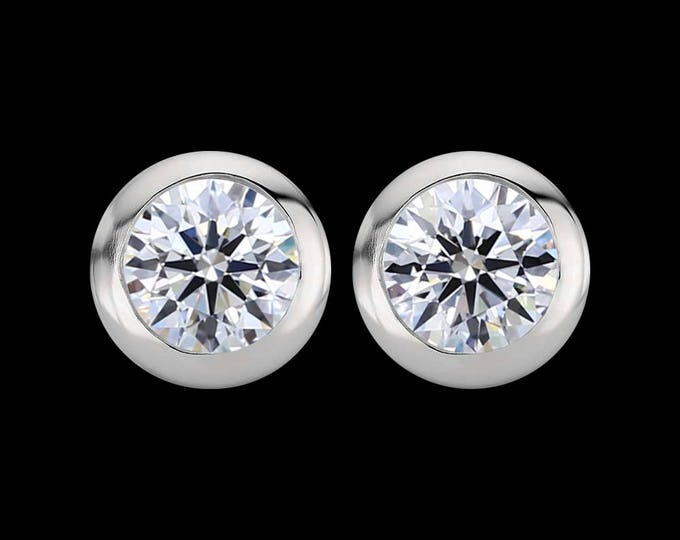 0.46 total carat weight, F color, EX cut, VS1 clarity, GIA certified diamonds in white gold or platinum.