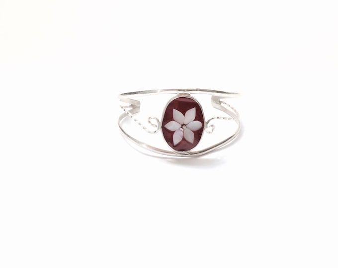 "A Delicate Mid Century Taxco Mexican Designer Red Enamel & Abalone Flower Inlay / Sterling Silver Cuff Bracelet, 2"" (+/-) Diameter #1512"