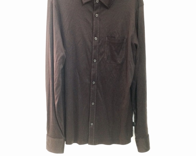 Beautiful Brown Blouse, Hugo Boss Brown Dress Shirt, size large, #2310