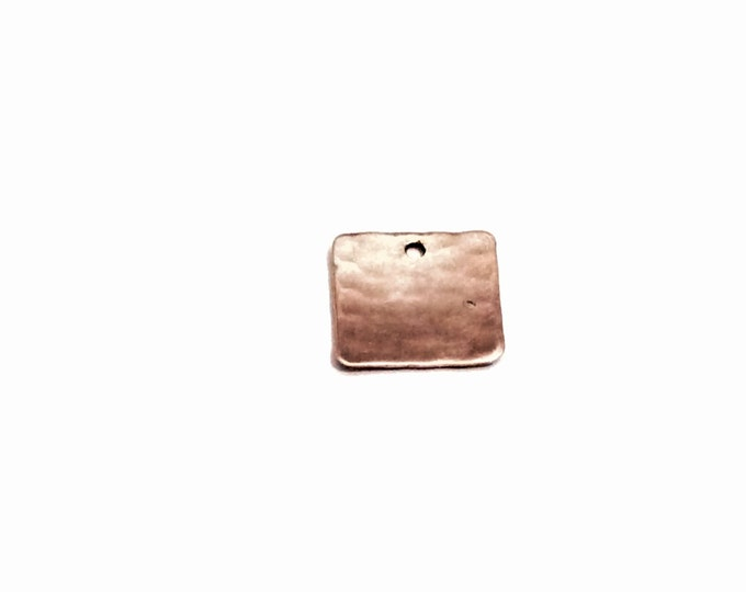 "Hand Hammered Art Nouveau Sterling Silver Square Charm/Finding - Jewelry Craft/Repurpose,  .6x.6"", 1.75 Grams, #2785"