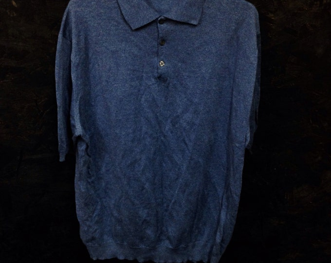 Blue Cotton Men's Dress Polo, Peter-Geeson of England Blue Dress Polo, size large, #2314
