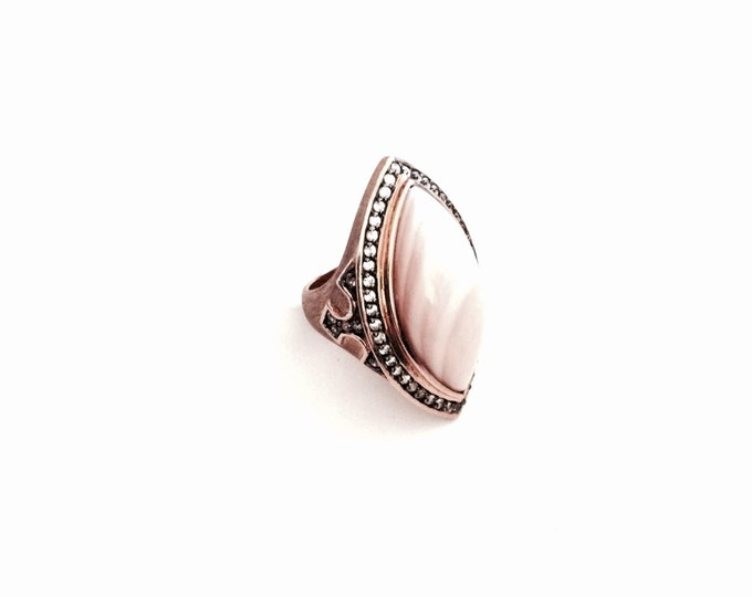 An Ornate Thai Rose Gold/Sterling Silver Pink Jasper & CZ Diamond Paved Ring, USA Ring Size 7, 15.13 Grams #2965