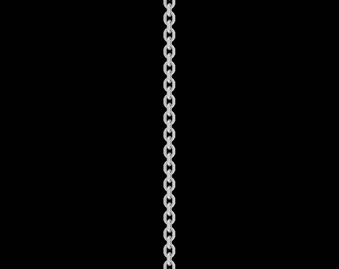 Cable link chain necklace in solid sterling silver, 1.5mm, spring ring clasp; 14-36 inches.