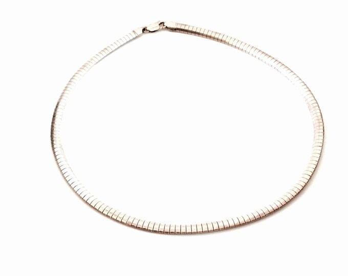 "Mid-Century 18"" Italian Designer Sterling Silver Omega Chain Necklace, 27.18 Grams, #2838"