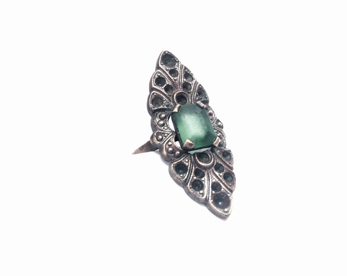 Early 1920's-30's Art Nouveau Solitaire Square Cut Emerald & Branching-Embossed Sterling Silver Ring, USA Ring Size 5.75 #1414