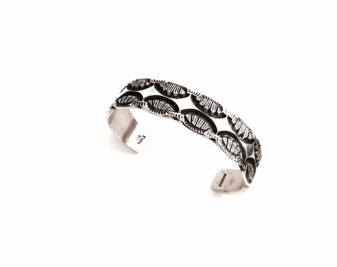"Navajo Designer Signed ""Elvira Bill"" Sterling Silver Tribal Cuff Bracelet, Aprox. 2.5"" Diameter, 45.15 Grams #2899"