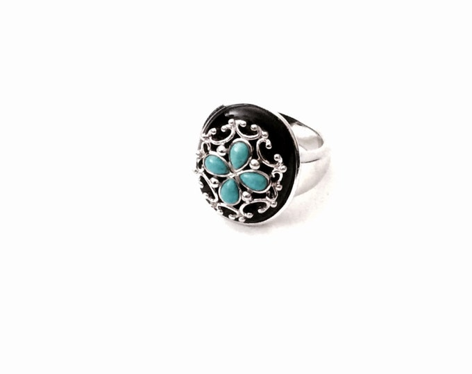An Incredible Mid-Century-Retro Southwestern 'Oriental' Sterling Silver - Onyx - Turqouise Ring, USA Ring Size 8, 14.07 Grams #2832