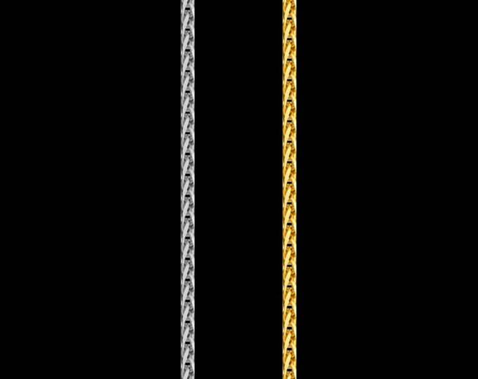 Wheat link chain necklace in 14k yellow or white gold, 0.80mm, lobster clasp; 16, 18, 20, 22 or 24 inches.