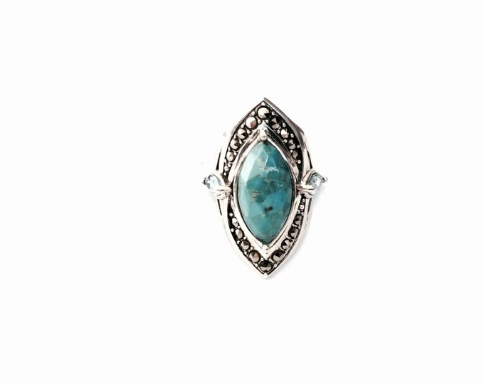 A Retro-Modernist 1970's Thai Sterling Silver, Turqouise, Blue Sapphire & Marcasite Paved Ring, USA Ring Size 7, 10.44 Grams #2995