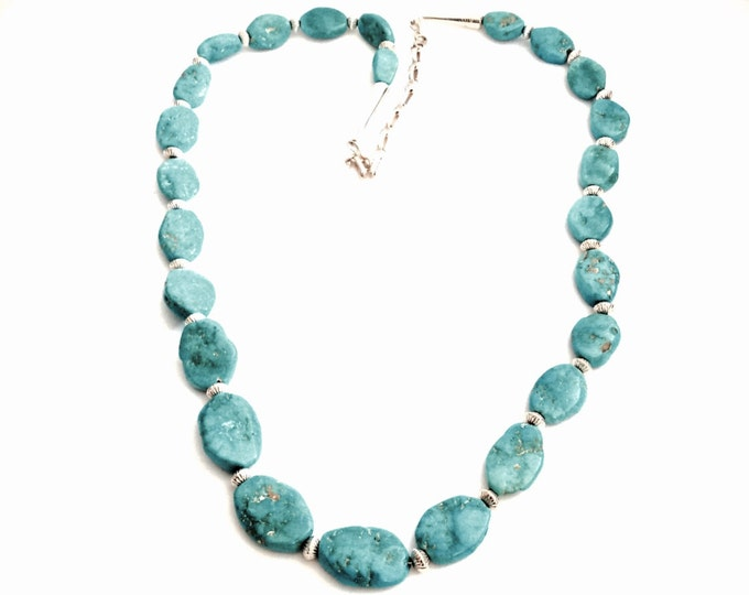"Robert Becinti 26"" Southwestern Najavo Designer Signed Turqouise / Sterling Silver Necklace, C. 1950, 60.25 Grams, #2895"