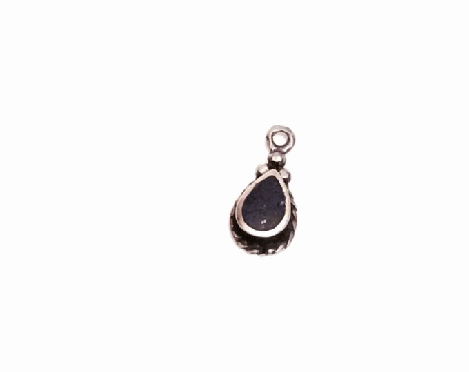 "A Dainty Vintage Lapiz Lazuli Inlaid Teardop/Sterling Silver Charm-Finding, .4x.1"", .33Grams, #2787"