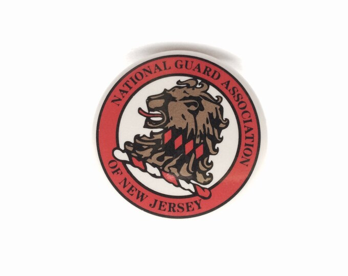"""Mid Century Lion NGA Pin, New Jersey National Guard Association, Mint Condition Collectible, 1.5"""" diameter, 5.1 Grams #1485"""