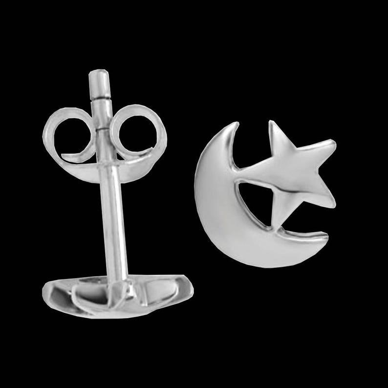 8x9 mm #C117 Solid Sterling Silver Star /& Moon Stud Earrings w Friction Backs