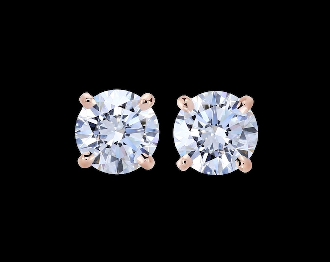 0.60 total carat weight, F color, EX cut, SI2 clarity, GIA certified diamonds in 14k rose gold.