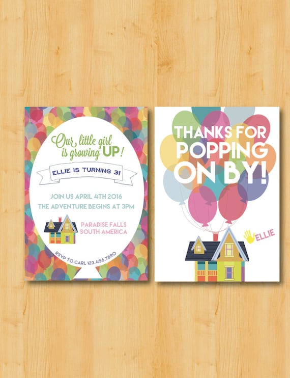 Up themed birthday party invitation and thank you cards filmwisefo