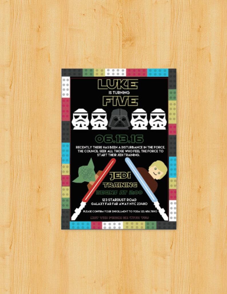 Star Wars Lego Party Themed Birthday Invitation DIGITAL