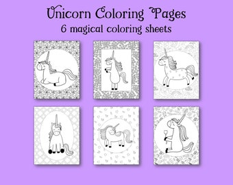 Unicorn coloring pages, coloring pages for kids, party favors, printable coloring book, little girl coloring sheets, colouring activity
