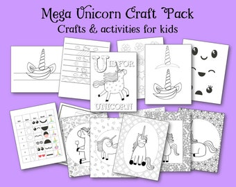 Unicorn Craft and Activity Bundle, Unicorn Party Pack, Party games, unicorn printables, unicorn games, kids craft, coloring pages, craft kit