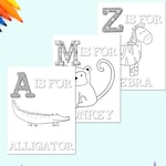 Animal Alphabet Coloring Pages for Kids, ABC Coloring Pages, Preschool Coloring Pages, Coloring Book, ABC Animal coloring book, Letters, ABC