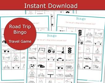 Kid Travel Bingo, Travel Activity for Kids, Road Trip Bingo, Travel Games Printable, Family Vacation Game, Travel Games for Car, Road Bingo