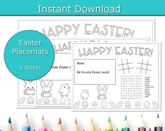 Easter Brunch Placemats, Easter Party Placemats, printable placemats, Family friendly Easter Dinner, Kids Table, Paper Placemats For Kids