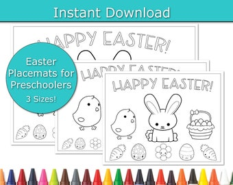 Preschool Easter Brunch Placemats, Easter Party Placemats, printable placemats, Family friendly Easter Dinner, Kids Table, Coloring Pages