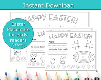 Early Reader Easter Brunch Placemats, Easter Party Placemats, printable placemats, Family friendly Easter Dinner, Kids Table, Paper Placemat