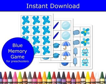 Color Blue Matching Game, Learning Games for preschoolers, educational game, preschool colors game, classroom activity, for 4 year olds