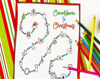 Coloring Page Advent Calendar Printable Christmas Activity For Kids, Countdown to Christmas Printable for kids