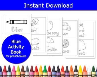 Color Blue Booklet, Learning Games for preschoolers, educational games, preschool colors game, classroom activity, games for 4 year olds,