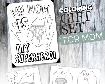 Mother's Day Coloring Page Set, Mother's Day Card and gift tag for mom, printable gift from kids, Last minute Mother's Day Gift idea