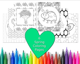 Spring Coloring Pages for Kids, Spring Coloring Book, Spring Party Activity