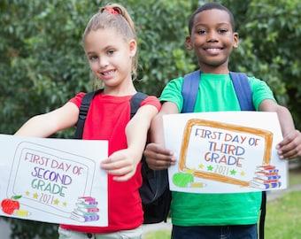 First Day of School Sign, Back To School 2021, Printable Sign, Photo Prop, First Day of Preschool, First Day of Kindergarten, Senior Year