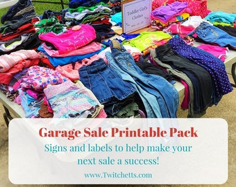 Garage sale kit, printable pack, yard sale pack, garage sale labels, garage sale signs, yard sale labels, pricing labels, sale display signs
