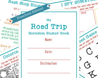 Travel Activity Book for Preschoolers, Printable Kids Quiet Travel Book, Travel Games Printable, Quiet Travel Toys for Kids, Games for Car