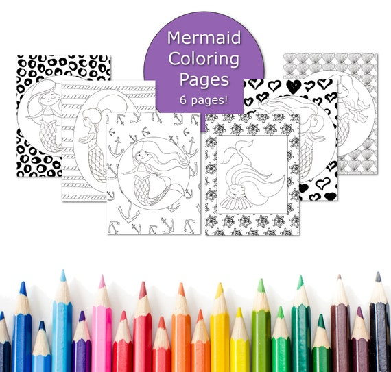 Mermaid Coloring Pages Coloring Pages For Kids Party Favors Printable Coloring Book Little Girl Coloring Sheets Colouring Activity