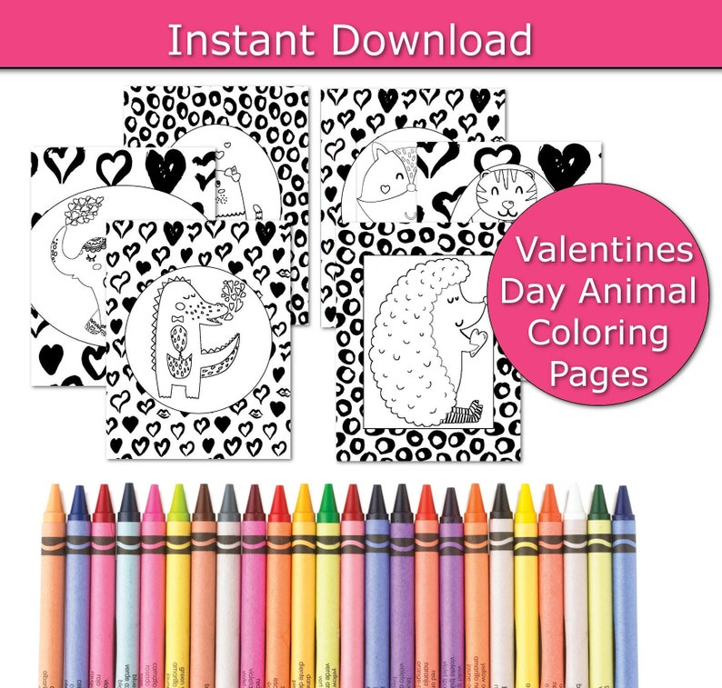 Valentines Day Coloring Book Heart coloring pages Animal image 0